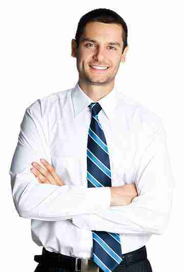 Real Estate Agent with White Shirt and Blue Collar